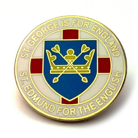 """St Edmund For The English"" Lapel Badge - White"